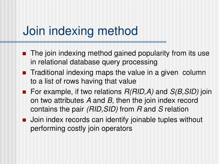 Join indexing method
