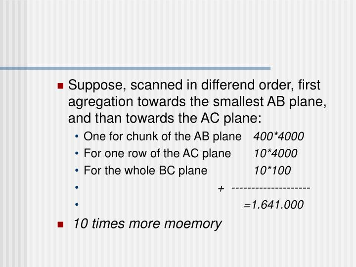 Suppose, scanned in differend order, first agregation towards the smallest AB plane, and than towards the AC plane: