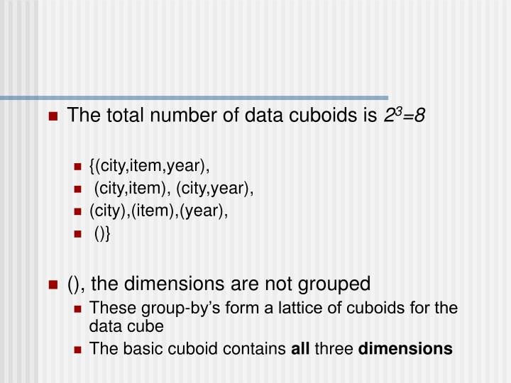 The total number of data cuboids is