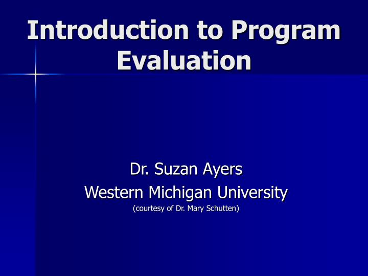 introduction to program evaluation n.
