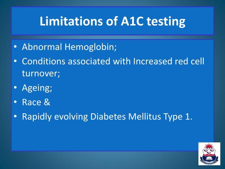Limitations of A1C testing