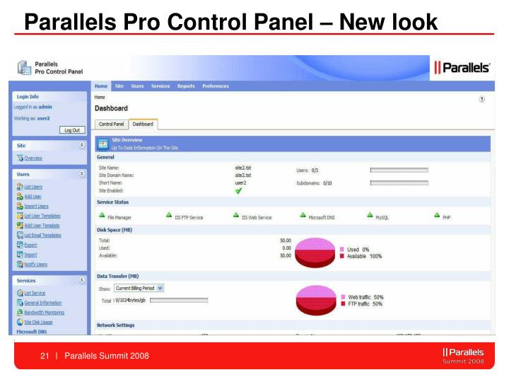 Parallels Pro Control Panel – New look