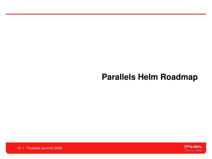 Parallels Helm Roadmap