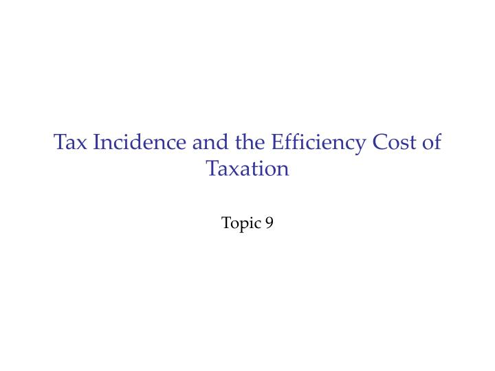 tax incidence and the efficiency cost of taxation n.