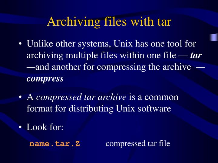 Archiving files with tar