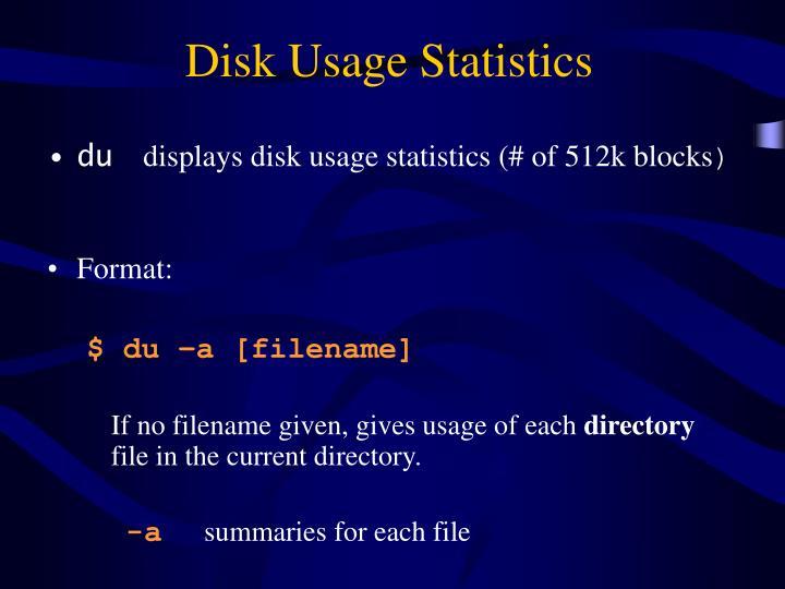Disk Usage Statistics