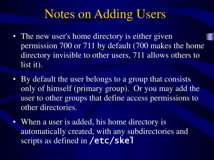 Notes on Adding Users