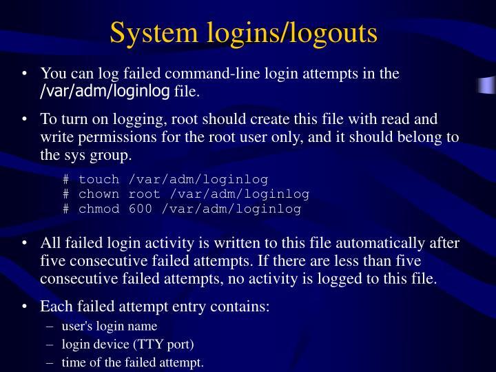 System logins/logouts