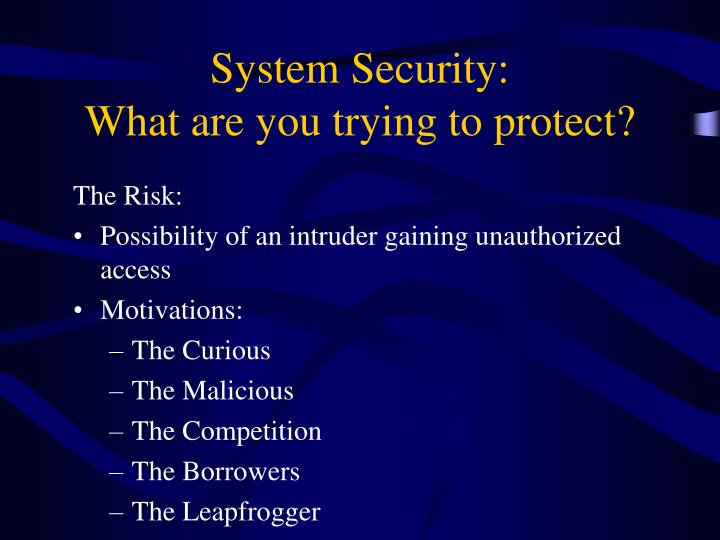 System Security: