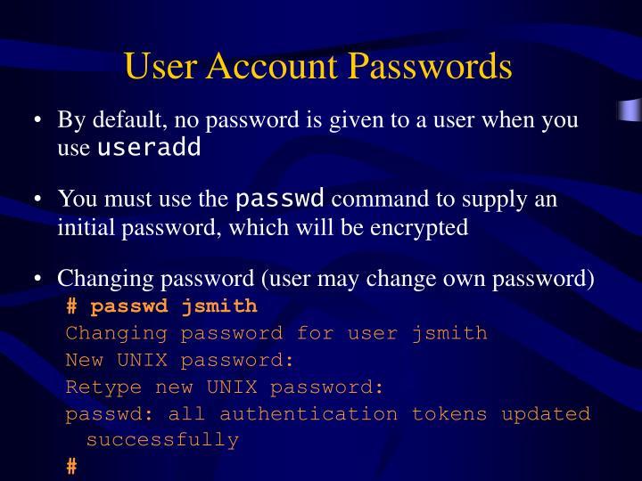 User Account Passwords