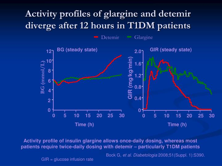 Activity profiles of glargine and detemir diverge after 12 hours in T1DM patients