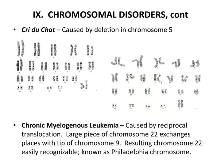 IX.  CHROMOSOMAL DISORDERS, cont