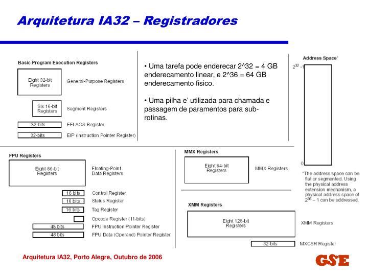 Arquitetura IA32 – Registradores