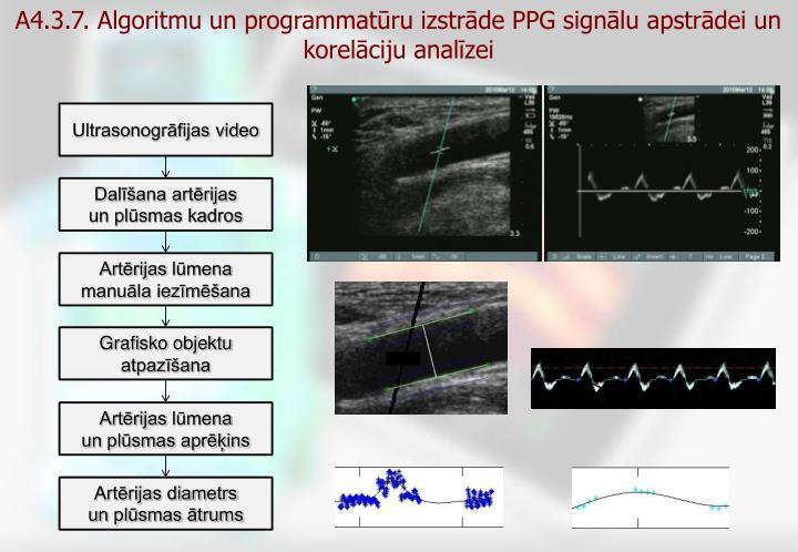 A4.3.7. Algoritmu un programmatūru izstrāde PPG signālu apstrādei un korelāciju analīzei