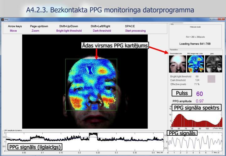 A4.2.3. Bezkontakta PPG monitoringa datorprogramma