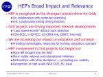 hep s broad impact and relevance