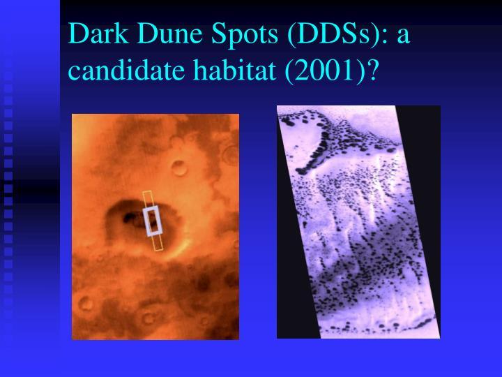 Dark Dune Spots (DDSs): a candidate habitat (2001)?