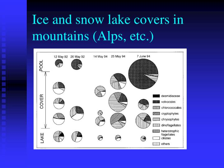 Ice and snow lake covers in mountains (Alps, etc.)