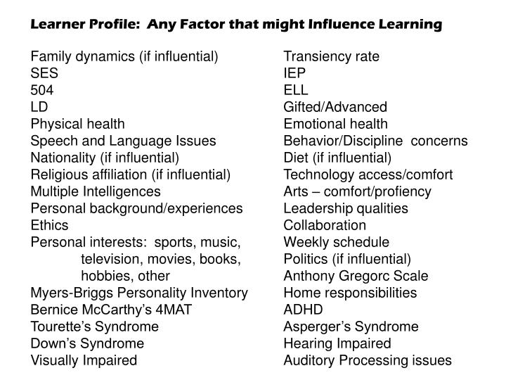 Learner Profile:  Any Factor that might Influence Learning