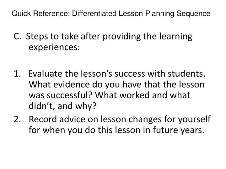 Quick Reference: Differentiated Lesson Planning Sequence