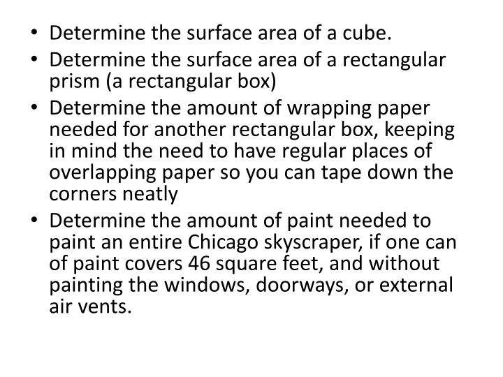 Determine the surface area of a cube.