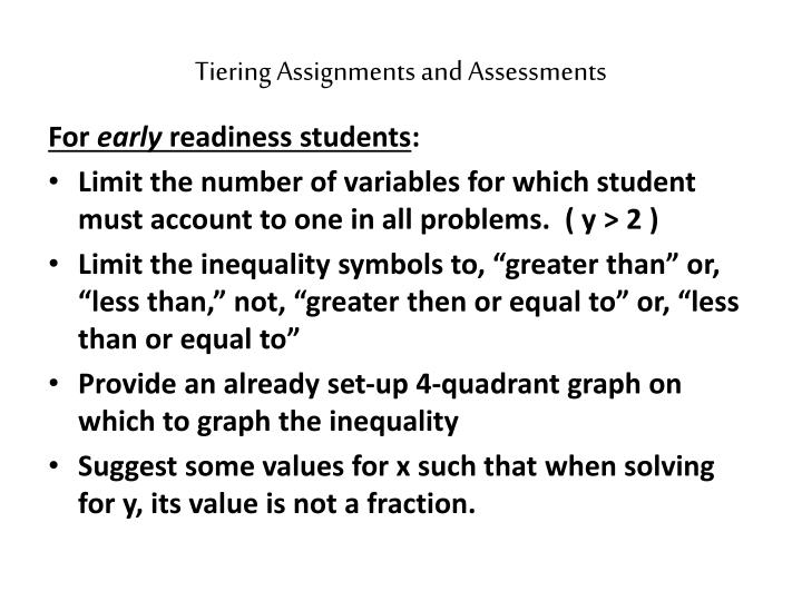 Tiering Assignments and Assessments