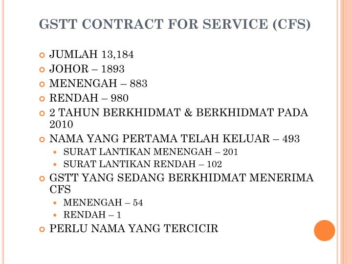 Gstt contract for service cfs