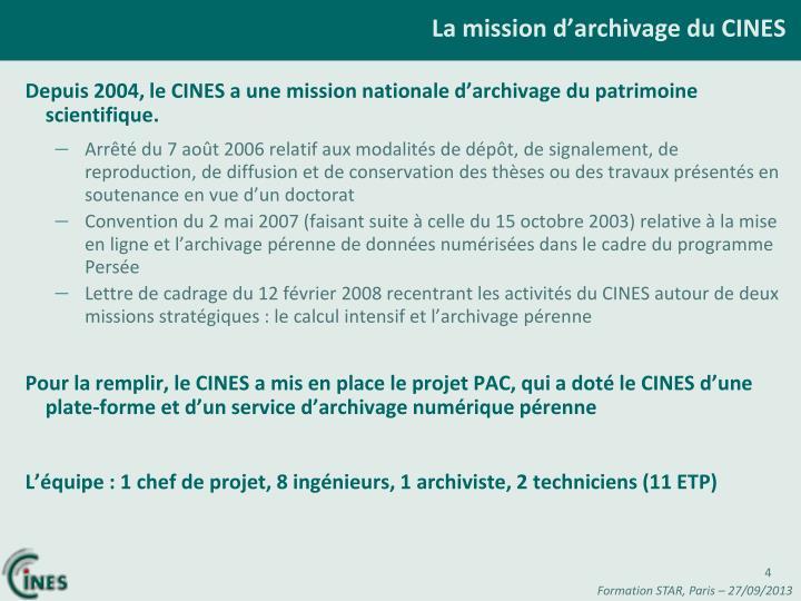 La mission d'archivage du CINES