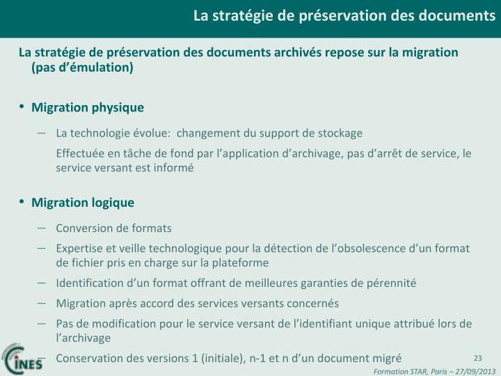 La stratégie de préservation des documents