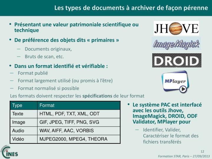 Les types de documents à archiver de façon pérenne