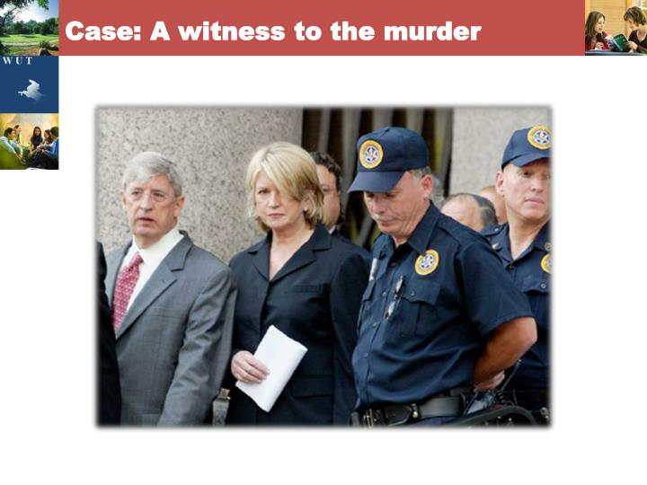 Case: A witness to the murder