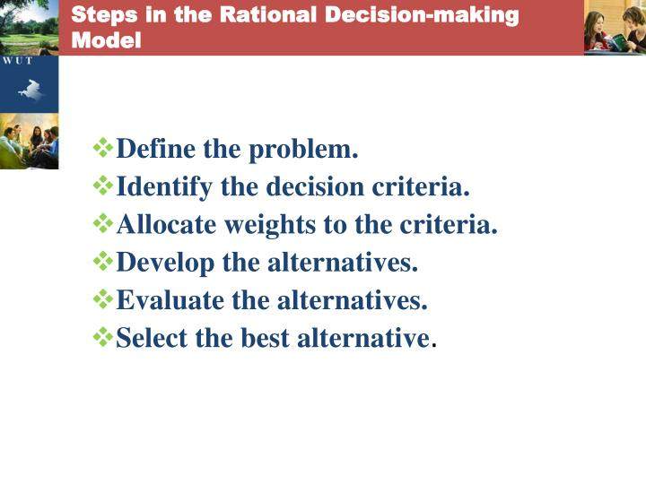 Steps in the Rational Decision-making Model