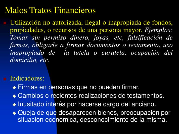 Malos Tratos Financieros