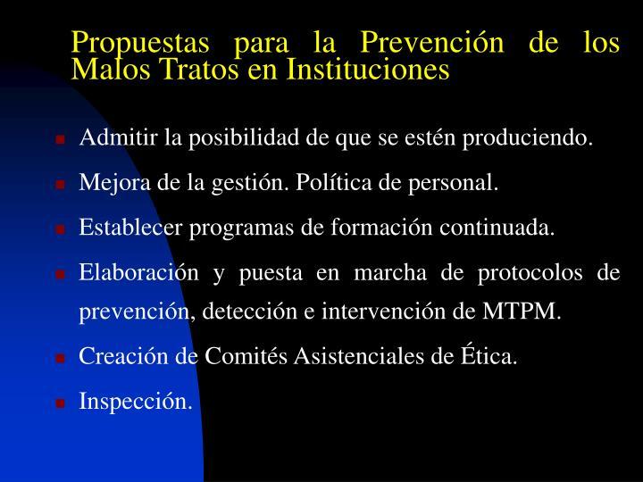 Propuestas para la Prevención de los Malos Tratos en Instituciones