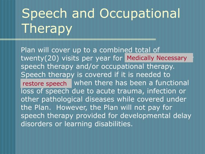 Speech and Occupational Therapy