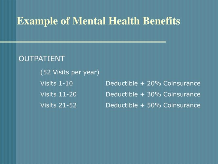 Example of Mental Health Benefits