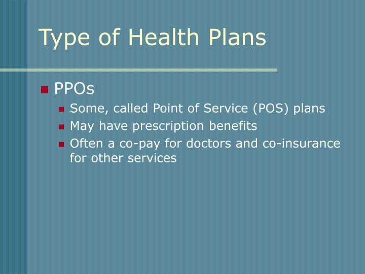 Type of Health Plans
