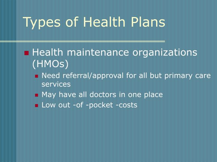 Types of Health Plans