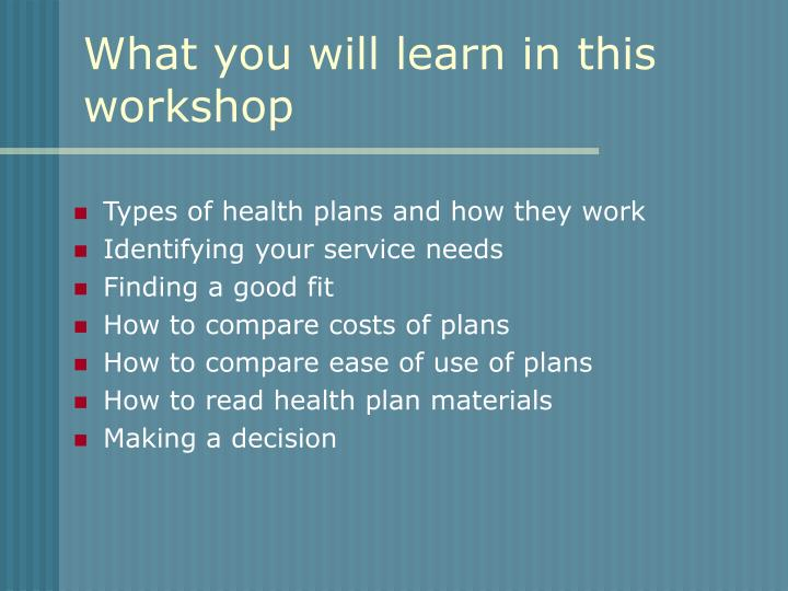 What you will learn in this workshop