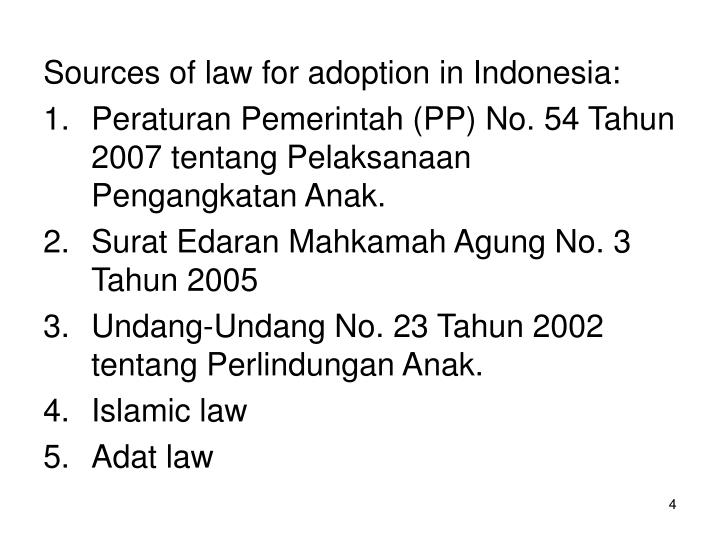 Sources of law for adoption in Indonesia: