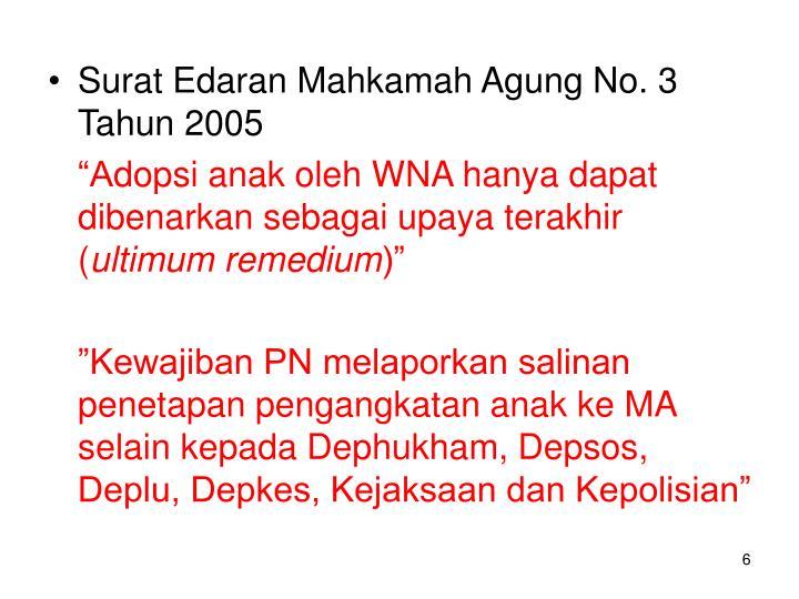 Surat Edaran Mahkamah Agung No. 3 Tahun 2005
