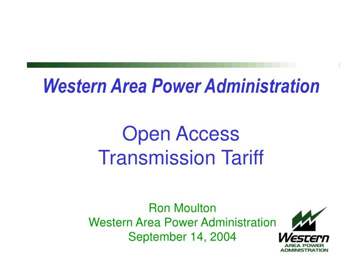 western area power administration open access transmission tariff n.