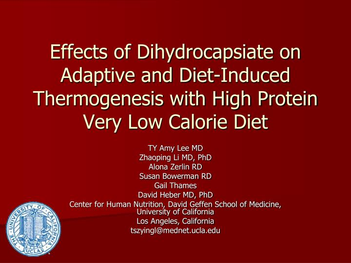 Effects of Dihydrocapsiate on Adaptive and Diet-Induced Thermogenesis with High Protein Very Low Cal...