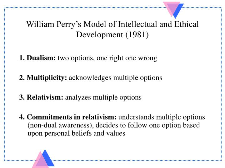 William perry s model of intellectual and ethical development 1981