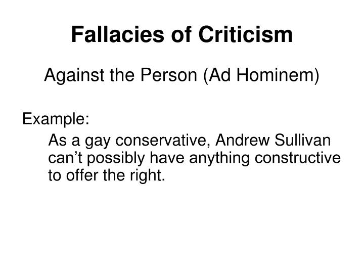 Fallacies of Criticism