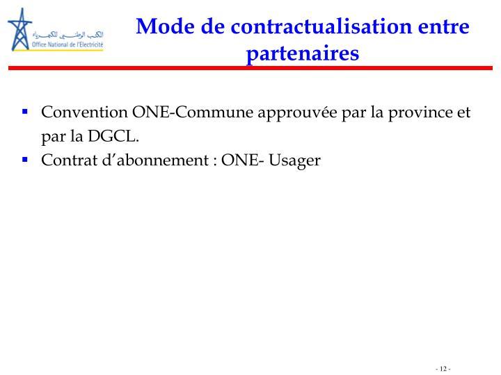 Mode de contractualisation entre partenaires