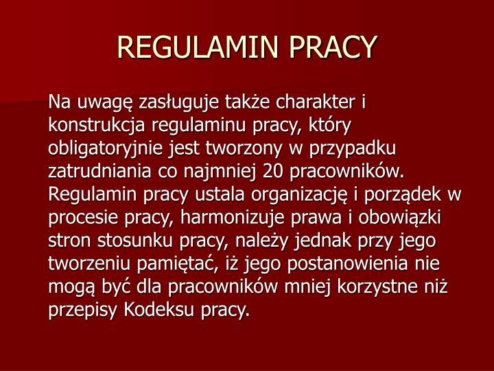 REGULAMIN PRACY