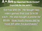 a are the important words circled especially the clue words