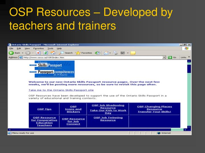 OSP Resources – Developed by teachers and trainers