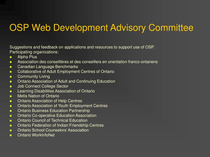 OSP Web Development Advisory Committee